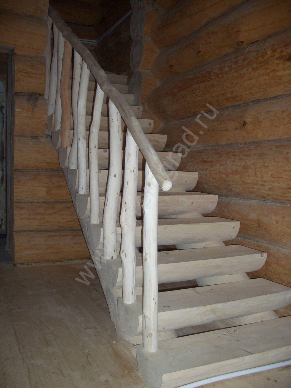 Лестницы из бревна фото