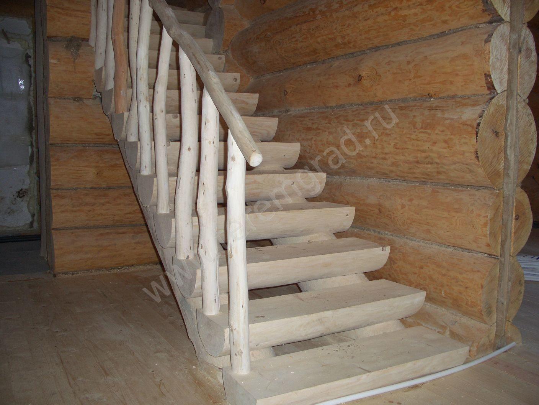 Сделать своими руками лестницу из бревен